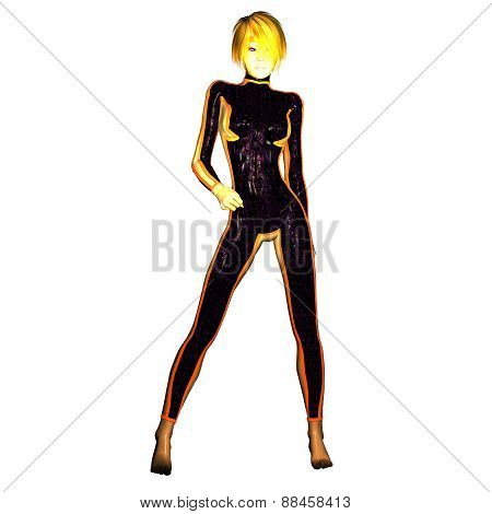 Digital 3D Illustration Of A Science Fiction Female; Cutout On White Background