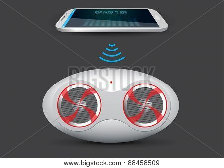 Wireless Music Stream Speaker And Smartphone Or Tablet - Vector Illustration