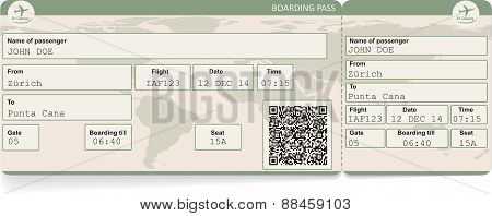 image of airline boarding pass ticket