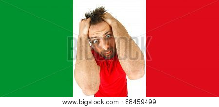 Young Italian Desperate In The Italian Flag.