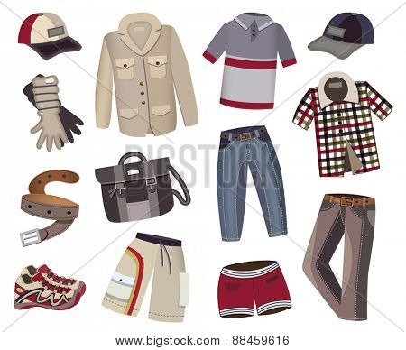 male clothes collection isolated on white background (vector illustration)