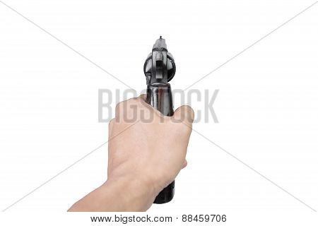 Men's Hand With A Gun Isolated On White Background
