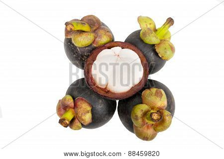 Mangosteen And Cross Section Showing The Thick Purple Skin And White Flesh Of The Queen Of Friuts