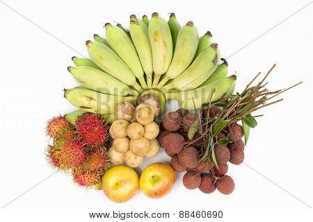 Combine Fruit With,banana Lychees Rambutan Longkong And Apple
