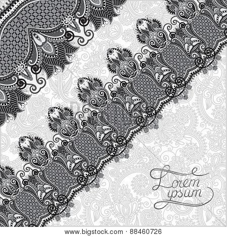 grey ornamental background with flower ribbon, stripe pattern