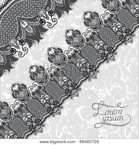 grey ornamental background with flower ribbon, stripe pattern