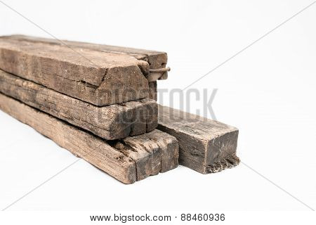Wooden Beams And Planks Isolated On White Background
