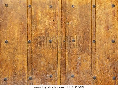 Old Wooden Gate With Large Rivets