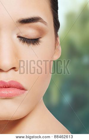 Beautiful spa woman with closed eyes.