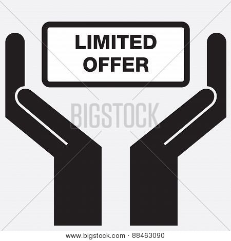 Hand showing limited offer sign icon.