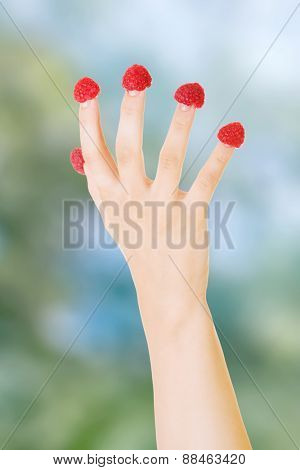 Woman's hand with raspberries on fingers.