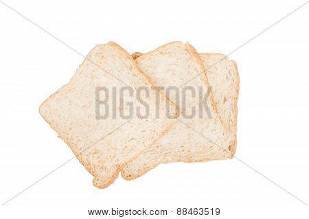 Three Fresh Bread Slices Isolated On White Background