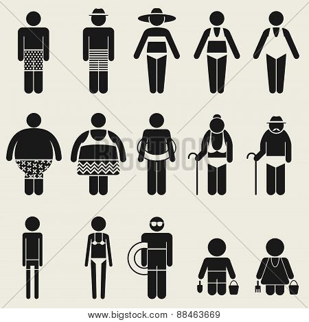 Summer People Icon Sign Symbol Pictogram