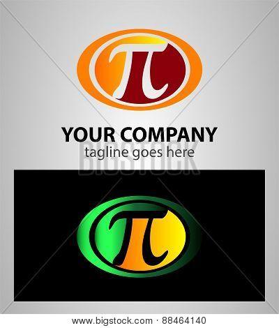 Pi icon logo mathematical symbol in watercolor style. Vector design