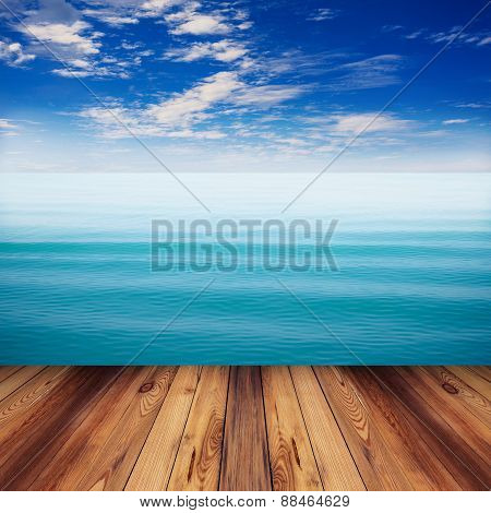 Wood And Sea Indigo Color Soft Wave With Blue Sky
