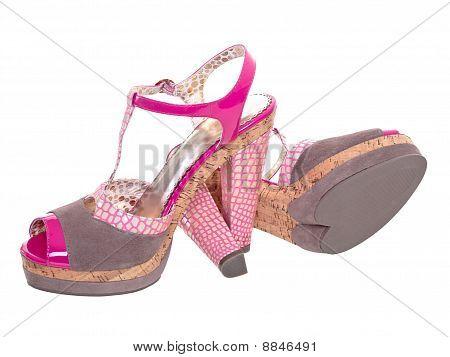 Постер, плакат: Смешные розовый обувь с подошвой формы сердца, холст на подрамнике
