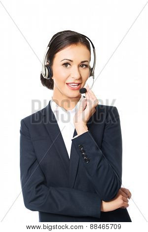 Portrait of call center woman talking to customer.