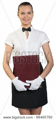 Young waitress with teeth smile in white gloves