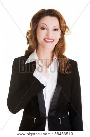 Happy smiling businesswoman looking at the camera.