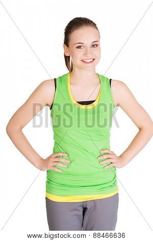 Portrait of sporty woman looking at the camera.