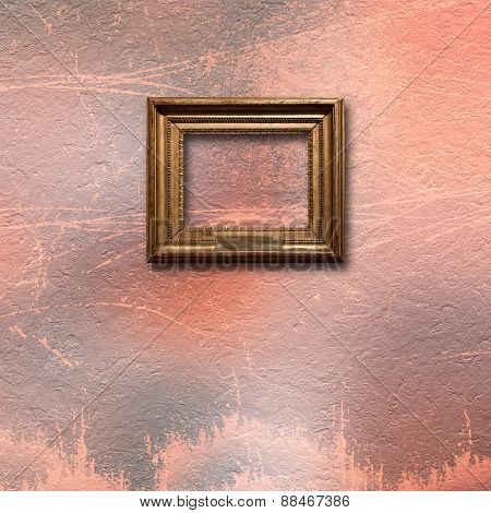 Interior Of Old Room With Wooden Frames For Pictures On Stone Wall