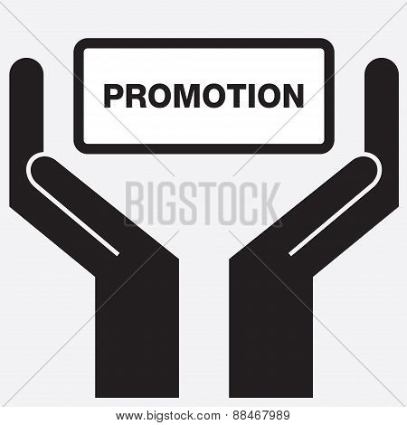 Hand showing promotion sign icon.