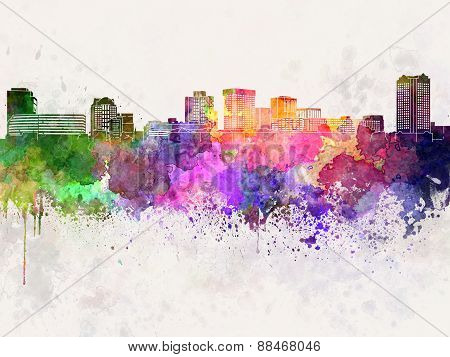 Norfolk Skyline In Watercolor Background