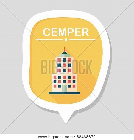 Commercial Building Flat Icon With Long Shadow, eps10
