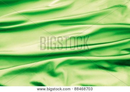 Soft Velvet Piece Of Green Fabric With Folds