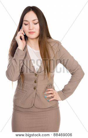 Business Woman Talking On The Phone With His Eyes Closed