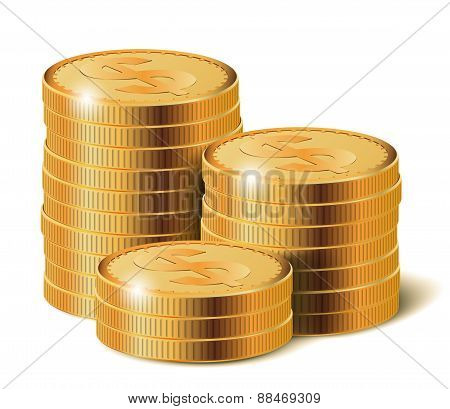Golden Coins Stacks, Vector Illustration