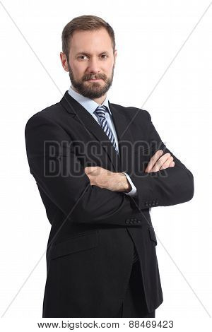 Serious Businessman Posing With Folded Arms
