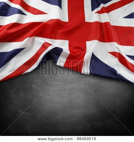 Union Jack flag on blackboard