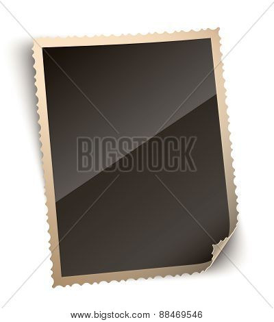 Vintage Photo Paper Frame with Curled Corner, Vector Illustratio