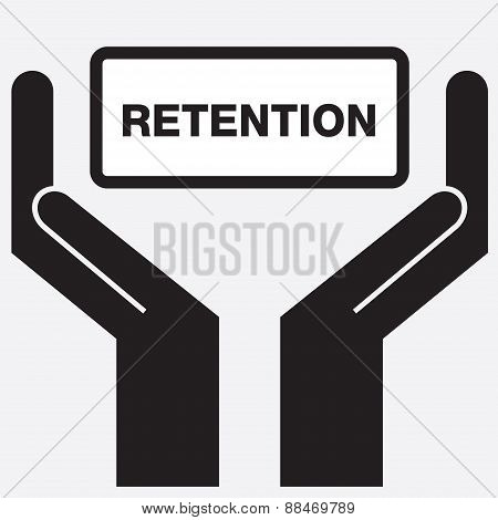 Hand showing retention sign icon.