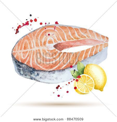 Watercolor Steak Fish.