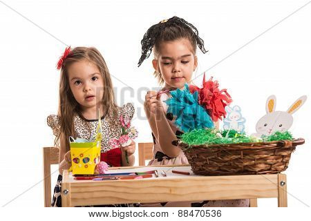 Kindergarten Girls Painting Easter Decorations