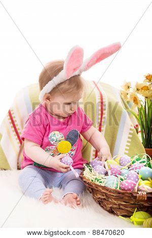 Baby Girl Choose Easter Eggs