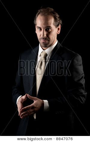 Adult Businessman Serious Hands Gesture On Black Background