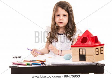Girl At Kindergarten Drawing