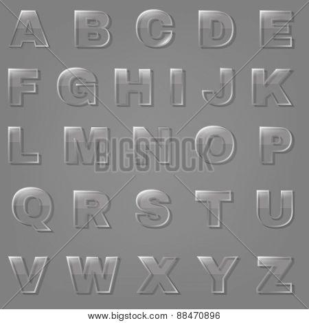 Glass Font, Vector Illustration