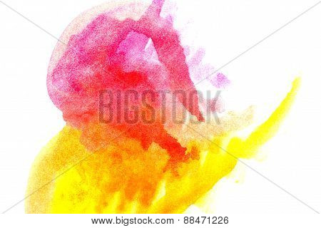 Yellow Magenta Abstract Watercolors.