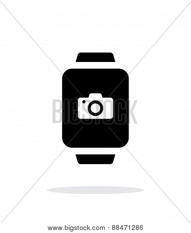 Camera in smart watch simple icon on white background.
