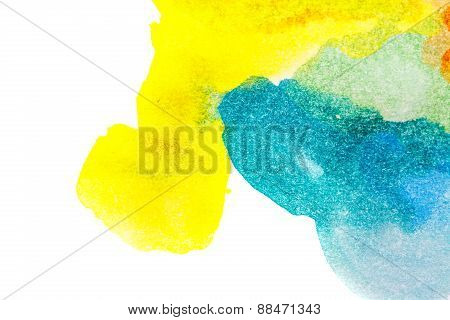 Yellow Blue Abstract Watercolors.