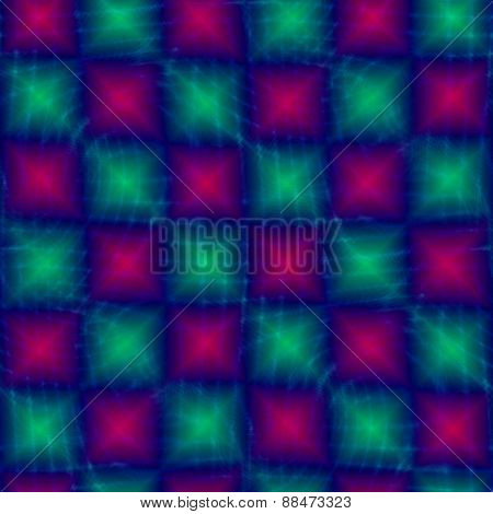 Glowing pink turquoise square tile able background