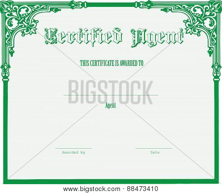 Certificate For The Agent