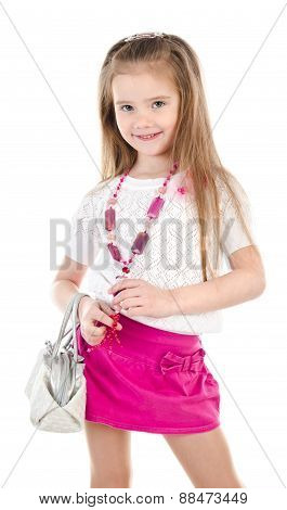 Happy Cute Little Girl In Skirt With Bag And Beads