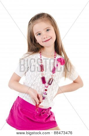 Happy Cute Little Girl In Skirt With Beads Isolated