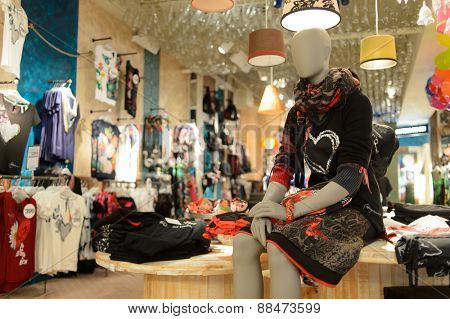 HONG KONG - APRIL 14, 2015: New Town Plaza interior. New Town Plaza is a shopping mall in the town centre of Sha Tin in Hong Kong. Developed by Sun Hung Kai Properties.