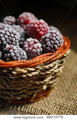 Frozen Blackberries In Basket